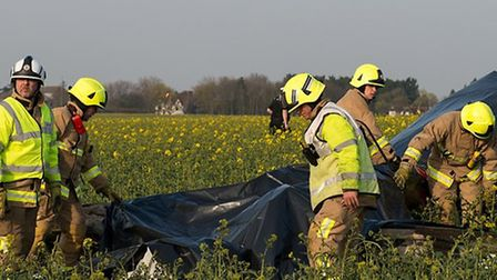 Emergency services at the scene of a light aircraft crash in Essex. Photo: Essex County Fire and Res