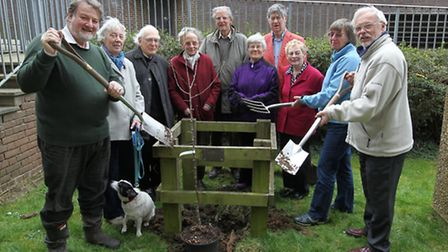 Tree planting in memory of composer Elizabeth Poston, who died March 18, 1987. Stephen Pollock Hill,