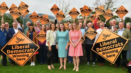(Left to right) Welsh Liberal Democrat leader Jane Dodds, newly-elected Liberal Democrat leader Jo S