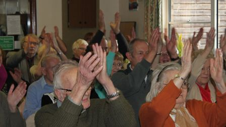 Armchair exercises at the Safer Living event in Takeley.