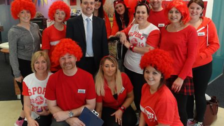 Staff at Nationwide Building Society's Stevenage branch with MP Stephen McPartland