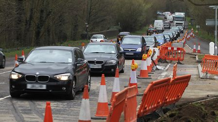 Congestion has been caused on Charlton Road in Hitchin by roadworks