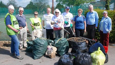 Volunteers outside Bancroft Recreation Ground after taking part in last year's The Big Hitchin Tidy