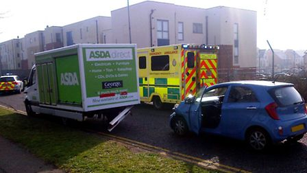 Cartwright Road in Stevenage has been shut this morning after a van and a car collided. Credit: @Amb