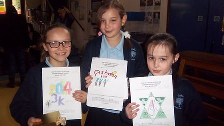 The winners of the logo competition, from left, Oleander May (2nd), Emily Pagliaro (1st) and Aliyah