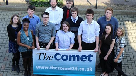 Members of the Big Student Takeover team outside the Comet offices in Stevenage. Credit: Ciaran Merr