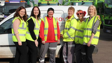 Pictured (left to right): Nikki Mills recycling education officer, Elaine Easton contract manager, L