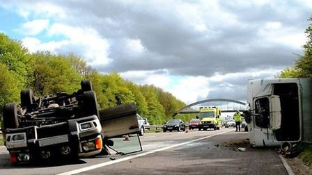 A lane has been temporarily closed on the A1(M) after a crash involving a caravan. Credit:@AmboOffic
