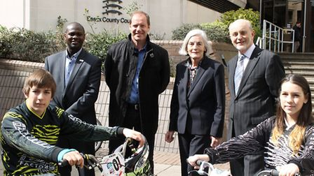 Back row, from left, Jason Fergus, Christian Prudhomme, Cllr Ann Naylor and Cllr Ray Gooding. From,