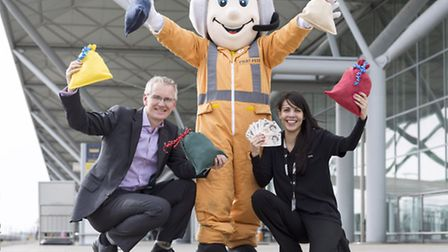 Stansted Airports managing director, Andrew Harrison (left), celebrates a year of fundraising with P