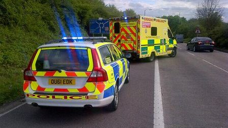 A person has been hospitalised following a crash on the A1(M)