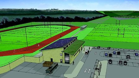 An artist's impression of the sports complex planned for Saffron Walden.