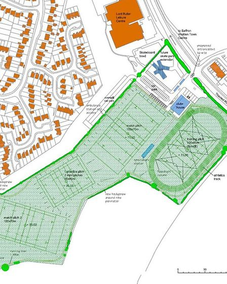 A blueprint of the site plan for a sports complex off Thaxted Road.