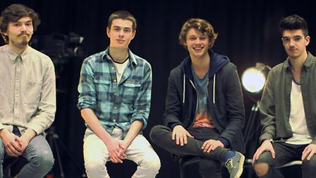 From left, David, Oliver, Rupert and Bailey filming their Kickstarter video Bradley was not able to