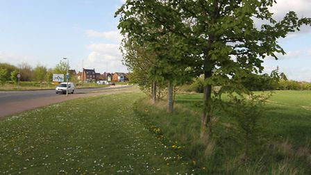 The area of the Hitchin Road, Arlesey where the proposed mini-roundabout and relief road could be bu