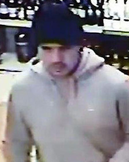 Police wish to speak to this man in relation to a theft which ocurred at a Hitchin off licence