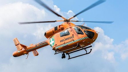 An air ambulance was called to the scene