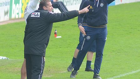 Both Graham Westley and Mike Jackson give instructions on the touchline. Photo: Alan Millard