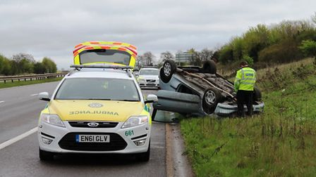 Paramedics at the scene of the crash on the A1(M). Pic by @AmboOfficer via Twitter
