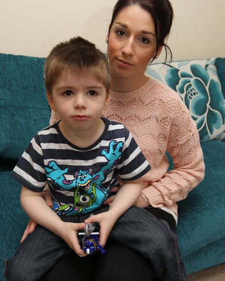 Laura Emmerson with her son Alfie at their home in Stotfold