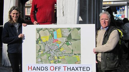 'Hands off Thaxted' campaigners Suzanne Compagnioni, Tom Wilson and Ray Knight.