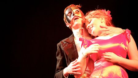 Ed Chancellor as The Phantom and Liberty Anstead as Christine in SWMTC Youth Group's production of P