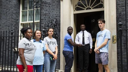 Campaigners from Our Future Our Choice at 10 Downing Street. Photograph: OFOC.