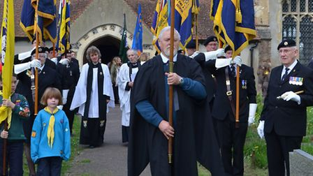 Arlesey Town Council Civic Service and Arlesey Remembers You Memorial Service. Procession led by Der