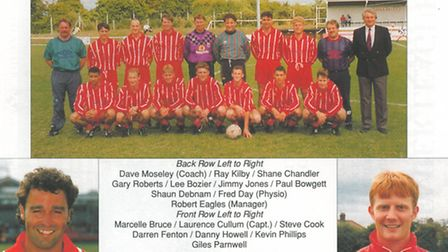 The Baldock Town team photo from 1994-95 includes Kevin Phillips, front row second from right. Photo