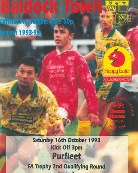 Kevin Phillips on the front of a Baldock Town matchday programme. Photo: Baldock Town FC
