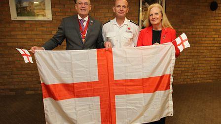 Cllr John Lloyd, Billy McGill, station commander for Stevenage and North Herts District and Cllr Sha