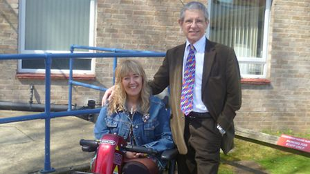Sue Ross with her GP, Dr Keith Greenish from Courtenay House Surgery Hitchin