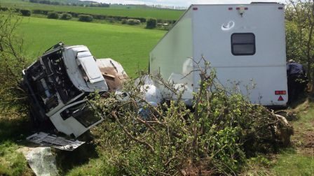 Emergency services were called to attend an overturned lorry on the A505 between Royston and Baldock