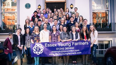 The Essex Young Farmers in front of the Abbey Road Studios.