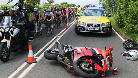 """A stage of the tour was """"neutralised"""" after a motorcyclist collided with a vehicle. Credit: @AmboOff"""