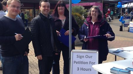 Stevenage MP Stephen McPartland gathering petition signatures in the town centre at the weekend