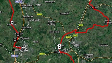 The route will head through Baldock and Letchworth GC before finishing in Welwyn GC