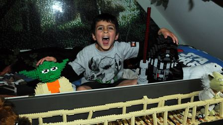 Milun Simpson 5 in his LEGO Star Wars themed bedroom