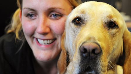 Siobhan Meade, pictured with her guide dog Mac, has been gathering evidence of abuse by wearing a bo