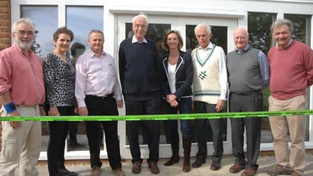 Members of Manuden Parish Council's community centre steering group and the developer who built the