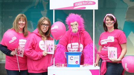 Linda Moore, Chloe Chambers, Heidi Connell, dresses as a gorilla and Rachel Parratt from Cancer Rese