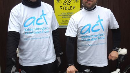 L-R Simon and Chris from Shefford will be cycling up three mountains in the French Alps
