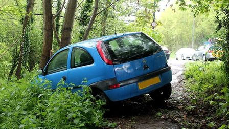 A blue Vauxhall Corsa left the road and went down a ditch, coming to a halt after crashing into a tr