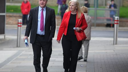 Ed Balls, MP Shadow Chancellor for the Labour Party and Sharon Taylor leader of Council Stevenage ar