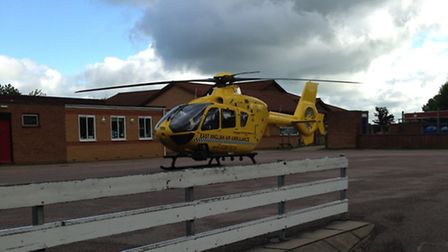The East Anglian Air Ambulance landed in the grounds of St Mary's Church of England Academy in Stotf