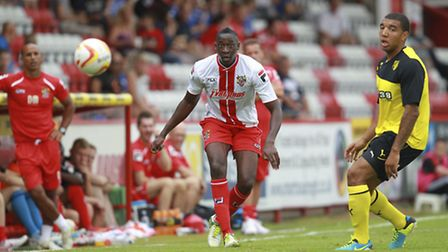 Lucas Akins watches the ball during last year's friendly with Watford. Photo: Harry Hubbard