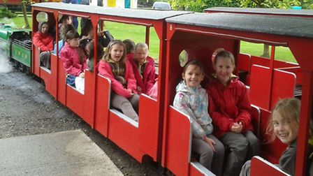 Having fun on the miniature railway at the Big brownie birthday bonanza at Audley End.
