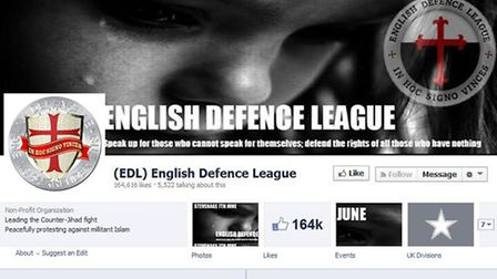 The English Defence League's Facebook page is promoting the Stevenage march