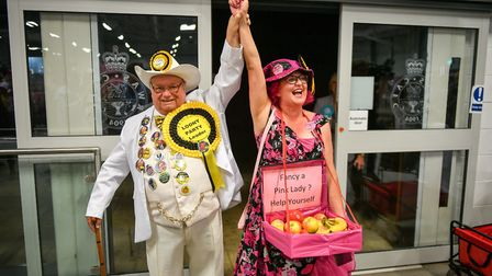 Leader of the Monster Raving Loony party Howling Laud Hope arrives with candidate Lady Lily The Pink