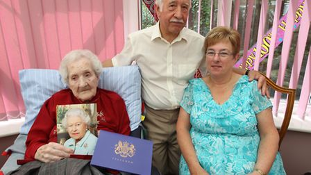 Esther Parker's 100th birthday, with son, Brian Parker and Carol